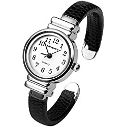 JSDDE Girls Kids Watch Fashion Trendy Slim Bangle Cuff Bracelet Watch, Silver Tone, Black Strap