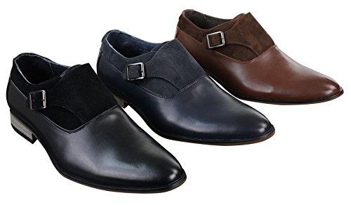 Chaussures homme à enfiler cuir et daim PU avec boucle style italien chic décontracté Bleu Marine
