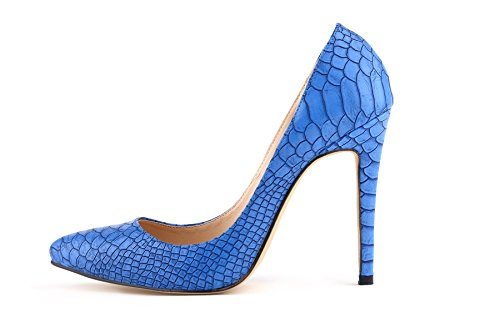 HooH Femmes Sexy Léopard Pointu Stiletto Escarpins Bleu
