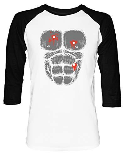 Harambe Halloween Kostüm - Schuss Gorilla Brust Herren Damen Unisex Baseball T-Shirt Weiß Schwarz 2/3 Ärmel Women's Men's Unisex