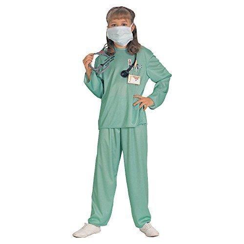 5 Stück Mädchen Jungen Kinder Kinder Arzt Pflegepersonal inc Stethoskop Kostüm Kleid Outfit - Grün, 5-7 Years (Outfit Arzt Kinder)