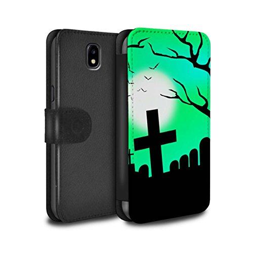 Stuff4® PU-Leder Hülle/Case/Tasche/Cover für Samsung Galaxy J5 2017/J530 / Unheimlich Friedhof Muster/Halloween Szene Kollektion