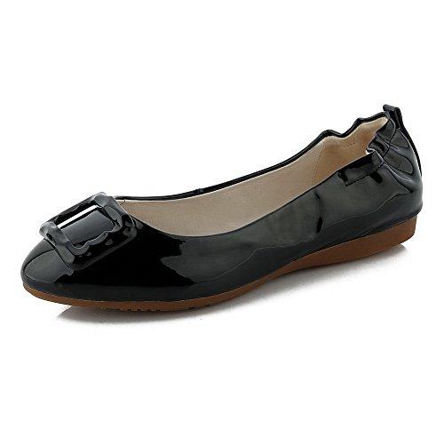 AgooLar Femme à Talon Bas Couleur Unie Tire Verni Rond Chaussures à Plat Noir