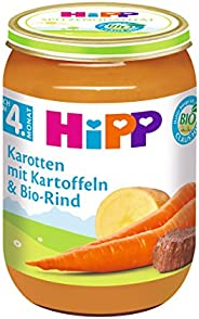 HiPP Karotten mit Kartoffeln und Bio-Rind, 6er Pack (6 x 190 g)