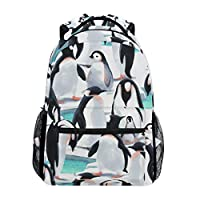 Hunihuni Penguin Pattern Durable Backpack College School Book Shoulder Bag Daypack for Boys Girls Man Woman