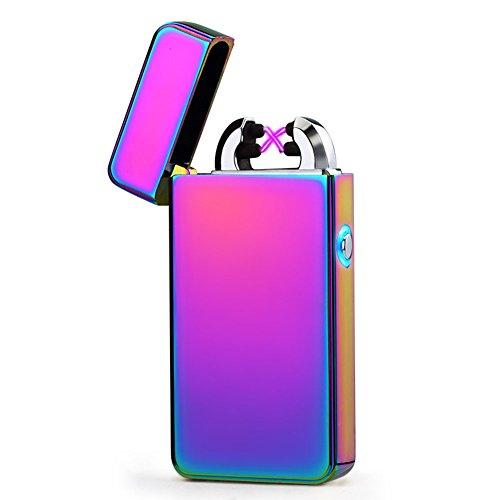 USB Wiederaufladbare Feuerzeug hibote Dual Lichtbogen Aufladbare Winddicht Flammenlose Bunt
