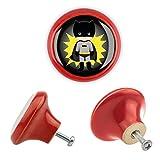 Möbelknopf Keramik 06180R Kinder Superhelden Superheroes Optik Antik Porzellan Shabby Chic Möbelknöpfe Griffe Knäufe für Schrank Schublade Kommode Kinderzimmer