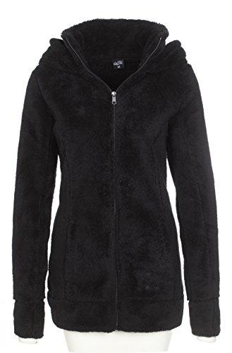 SUBLEVEL Damen Teddy-Fleece Mantel   Kuscheliger Langer Fleecemantel mit hohem Kragen camouflage M
