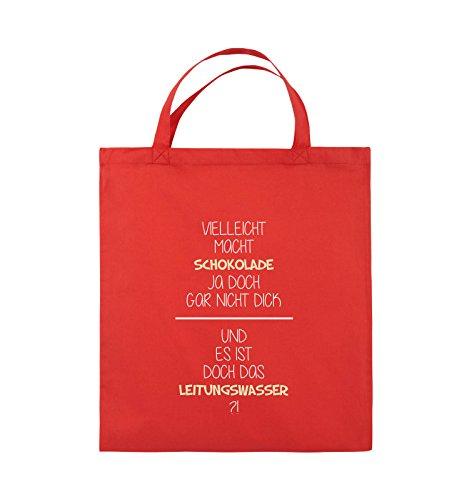 Comedy Bags - Vielleicht macht Schokolade ja doch gar nicht dick. - LEITUNGSWASSER - Jutebeutel - kurze Henkel - 38x42cm - Farbe: Schwarz / Weiss-Neongrün Rot / Weiss-Beige