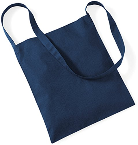 5 x Oberklasse Baumwolltasche 40 x 34 cm lange henkel zum umhängen (blau) (Großhandel-stoff-taschen)