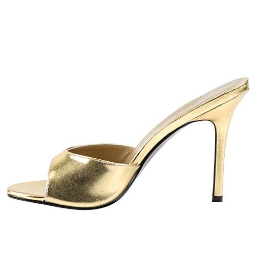 Pleaser Classique-01, Chaussures À Talons Pour Femmes Or Métallisé Pu