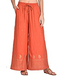 Rapsodia Women's Rayon Printed Regular Fit Palazzo (Orange)