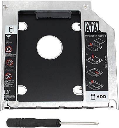 Storite Optical Bay Festplatten-Caddy Tray 2,5 Zoll (2,5 Zoll) 2nd HDD SDD Kit 9,5 mm SATA HDD SSD Adapter Optical Bay Drive Slot Slot MacBook Pro Unibody 13 15 17 SuperDrive DVD Laufwerk nur Ersatz