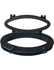 Barco yate Oval apertura ojo de buey con ABS y cristal templado transparente, 16–1/5¡± 8–5/8¡±, Negro