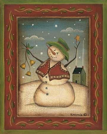 Jingle Bells by Lewis, disponibile Kim-Stampa artistica su tela e carta, Tela, SMALL (8 x (Folk Primitive Decor)
