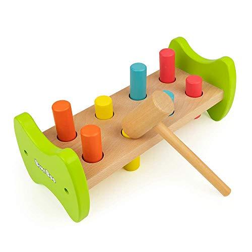 Bimi Boo Hammerspiel aus Holz für Kinder im Vorschulalter ab 2 Jahren - Hammerbank Kinderspielzeug, Klopfbank Spielzeug mit Kinderhammer, Holzspielzeug Geschenke, 4 Farben