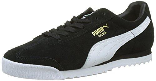 Puma Unisex-Erwachsene Roma Suede Sneaker, Schwarz Black White Team Gold-Amazon Green, 40.5 EU (Herren Roma Puma)