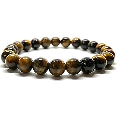 GOOD.designs Chakra-bracelet de perles, Pierre de Oeil-de-tigre - Perle de 10mm, Bouddhiste Perles de Prière Œil de tigre (10mm)