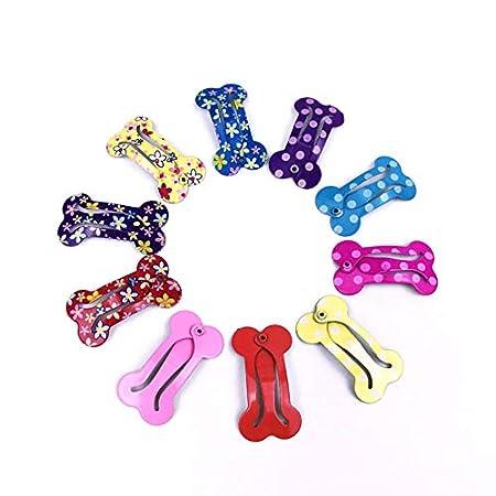 Fliyeong 10 STÜCKE Mini Hundeknochen Form Haarspange Kreative Pet Haarnadel Schöne Kopfschmuck Haarschmuck für Welpen Kostüm Zufällige Farbe