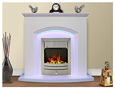 Modern White Flat Wall 2KW Electric Fire Surround Set Complete Fireplace with LED Light- with Brushed Steel Fire