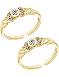 Jewels Exotic 0.20 CT White CZ 925 Sterling Silver 14K Yellow Gold Finish Fashion Toe Rings For Women