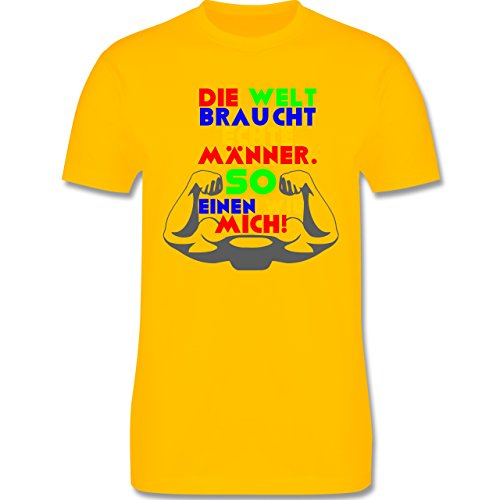 lustige Fotomotive - Echte Männer - L190 Herren Premium Rundhals T-Shirt Gelb