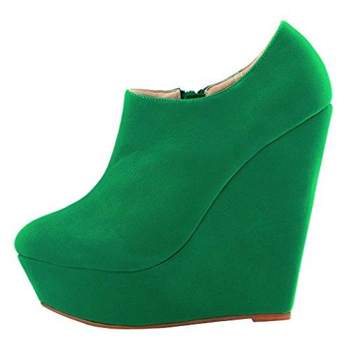 Lado Tornozelo Merumote Senhoras Verdes Botas Y Altos 028 Sapatos Saltos Plataforma Zíper wSngf