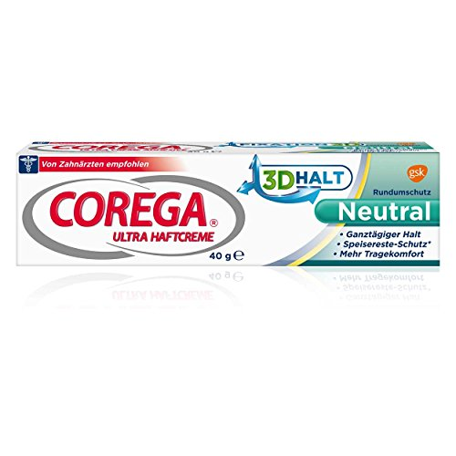 Corega Ultra Haftcreme Geschmacksfrei 40g, 3er Pack (3x 40g)