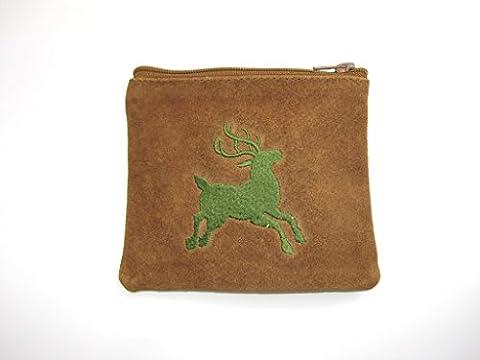 Dirndltasche ,Schmucktasche, Gürteltasche aus Leder, echtes braunes Velourleder mit grünem Hirsch