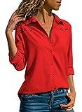 Aleumdr Bluse Damen Langarm hemdbluse V Ausschnitt Langarmshirt einfarbig Business mit Knopfleiste Hemd Oberteile Herbst und Sommer Revers Kragen- Gr. Small (EU36-38), Rot