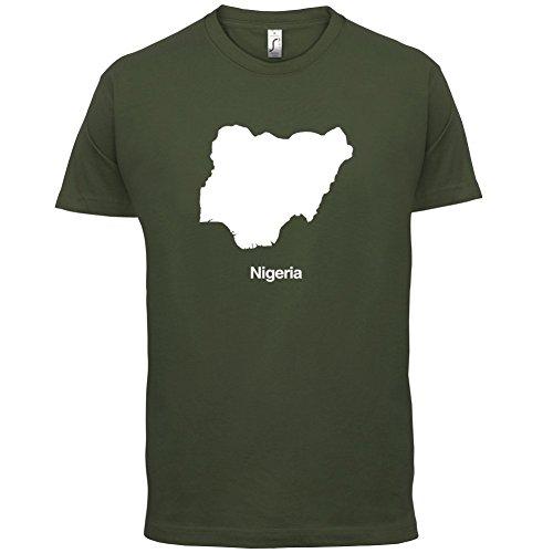 Nigeria / Bundesrepublik Nigeria Silhouette - Herren T-Shirt - 13 Farben Olivgrün