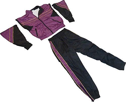 Jogginganzug (Farbe wählbar) als 80er Jahre Kostüm Trainingsanzug 80s Retro Kleidung (Lila-Schwarz, XL) ()
