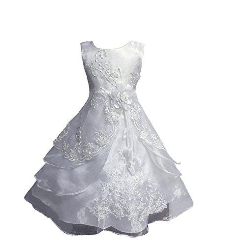festlich Kinder Hochzeit Taufe Blumen-Mädchen Prinzessin Party Pinzessin Kostüm Weiß 110