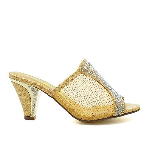 London Footwear ,  Damen hinten offen Gold