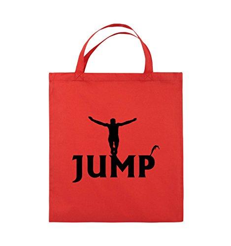 Buste Comiche - Jump - Figure - Borsa In Juta - Manico Corto - 38x42cm - Colore: Nero / Argento Rosso / Nero