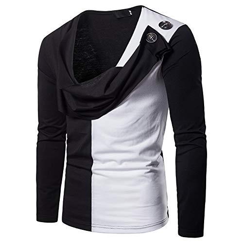 WHLWY Kapuzenpullover Freizeit Und Komfort Zwei Gefälschte Zweifarbig Langärmelige T-Shirt Pullover Schwarz S