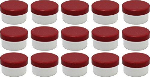 15 Salbendöschen, Creme-döschen, Salbenkruken 6ml Inhalt mit roten Deckeln - MADE IN GERMANY -