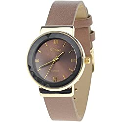 Geneva Japanese Movement Stainless Steel Back Casual Brown Faux Leather Strap Watch