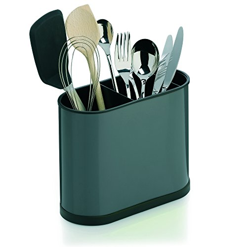 "Kela ""Benito"" Cutlery Holder, Stainless Steel, Black/Grey, 22 x 10 x 18 cm"