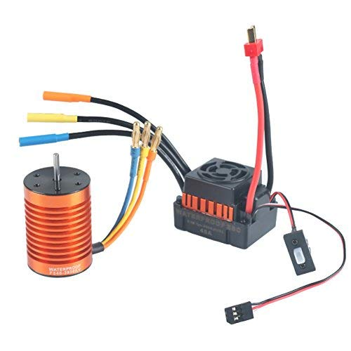 Crazepony-UK F540 3930KV Brushless Motor Waterproof with 45A ESC Electronic Speed Controller Combo Set 3.175mm Shaft for 1/10 RC Car Truck by