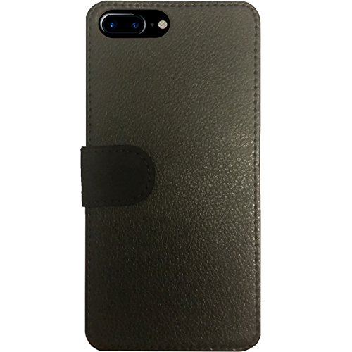 Leder Flip Case Tasche Hülle für Apple Iphone 7 Plus / 8 Plus - Graue Metall by wamdesign Simili-Cuir