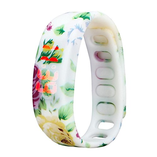 uhr sport armband Kolylong Unisex Blumendruck -Gummi-LED Sport Digital Armbanduhr (C)