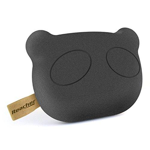 Reacher Panda carino S36 5200mAh caricabatteria di sostegno portatile mini batteria esterna con superficie in gomma, formato tascabile (Nero)
