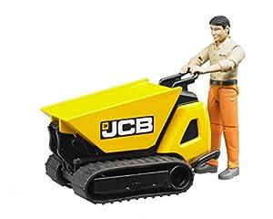 Bruder - 62004-19/5000 Vehículo en miniatura Mini Dumper JCB HTD-5 +Carácter con camisa beige y pantalones naranja