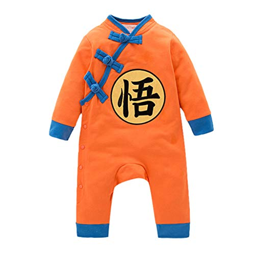Cuteelf Säuglingskinder Tang Anzug One Piece Baby Knödel Goku Klettern Kinderbekleidung Kinder Langarm Federn Dragon Ball Hare Buchstaben Nette Einteilige Kleidung Cosplay Overall One Piece Romper Outfit