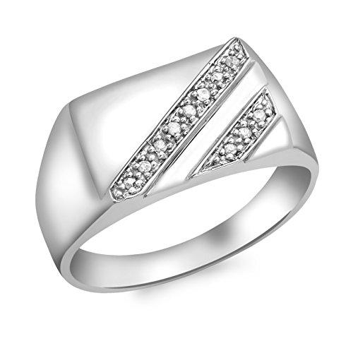 Carissima Gold Herren-Ring 9 k (375) Weißgold Rundschliff Diamant 65 (20.7)