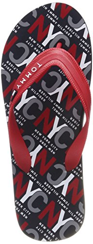 Tommy Hilfiger City Print Beach Sandal, Chanclas para Hombre, Rojo (Tango Red...