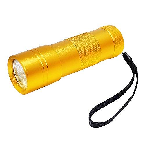FiveRen 12 LED 395nm Ultra Violet UV Schwarzlichtlampe, Compact Aluminium Gehäuse Mini Taschenlampe, Handheld Blacklight Fleck, Urin und Scorpion Detektor Taschenlampe. Die besten 12 LEDs UV Taschenlampe zu finden Flecken auf Teppich, Teppiche oder Möbel Material - Gold (Batterien nicht im Paket) [Energieklasse A+++] - Handheld-blacklight