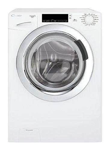 Candy GV 147 TC3 Waschmaschine FL / A+++ / 196 KW / 0-1400 UpM / 7 kg / 9600 L / TouchControl, Bediendisplay mit Startzeitvorwahl und minutengenauer Restlaufzeitanzeige / chromfarbenes Bullauge / weiß / silber