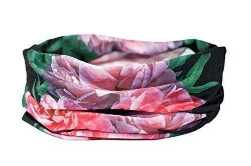 Rosa Peonías Diseño Floral Bufanda - Ruffnek Multifuncional Calentador Cuello / Diadema para Correr, Ciclismo, a Pie, Yoga, Studio Fitness - Mujer & Infantil